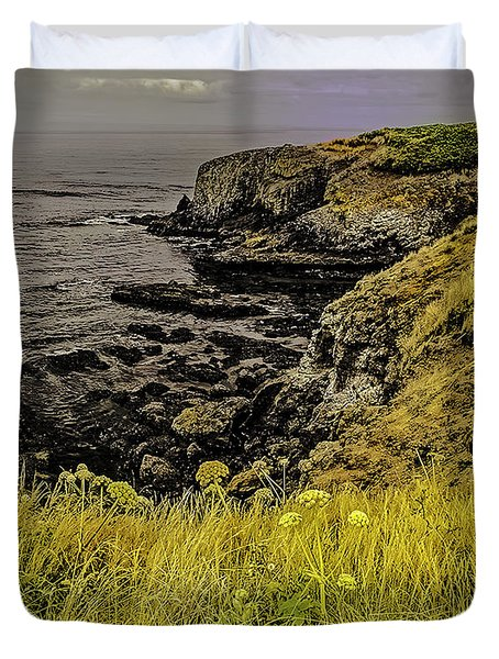 Salt Water Cliffs-oregon Coast Duvet Cover by Nancy Marie Ricketts