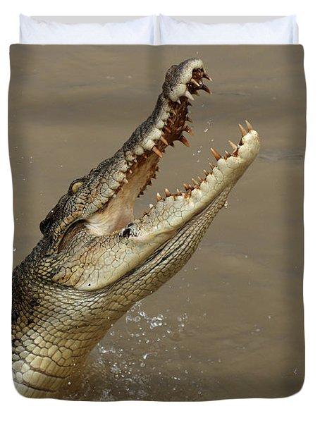 Salt Water Crocodile Australia Duvet Cover by Bob Christopher