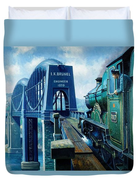 Saltash Bridge. Duvet Cover by Mike  Jeffries