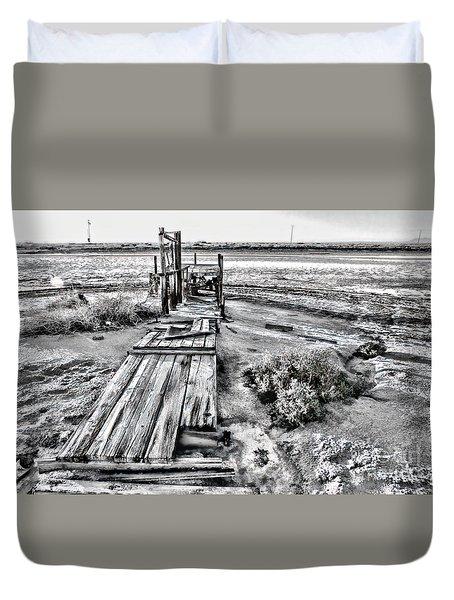 Salton Sea Dock Under Renovation By Diana Sainz Duvet Cover