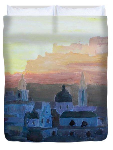 Salzburg At Dusk Duvet Cover by M Bleichner