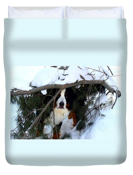 Sam And His Fort Duvet Cover by Patti Whitten