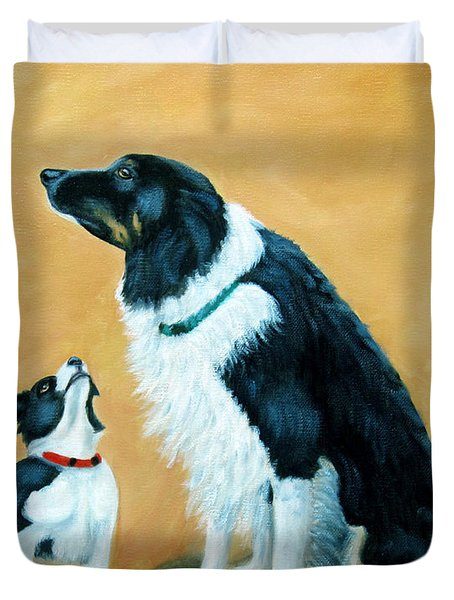 Duvet Cover featuring the painting Sammy And Breagh by Fran Brooks