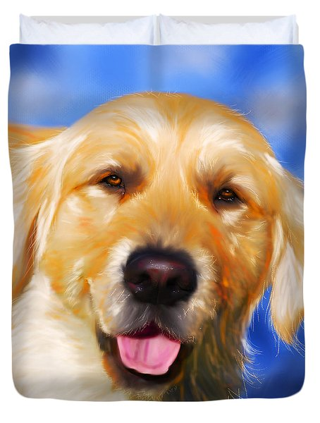 Happy Golden Retriever Painting Duvet Cover by Michelle Wrighton