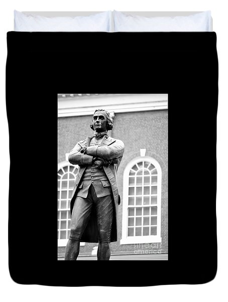 Samuel Adams Statue State House Boston Ma Black And White Duvet Cover