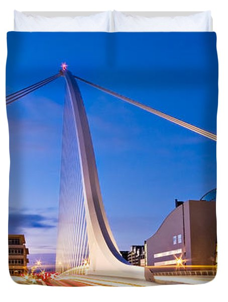 Duvet Cover featuring the photograph Samuel Beckett Bridge And National Conference Centre / Dublin by Barry O Carroll