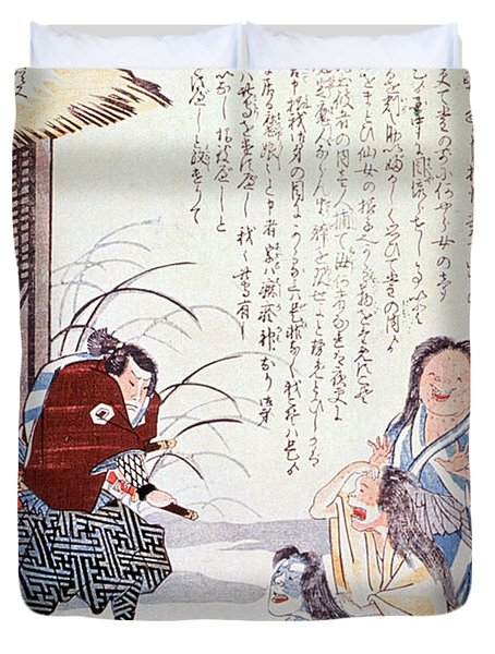 Samurai Cures Measles With Talismans Duvet Cover by Science Source