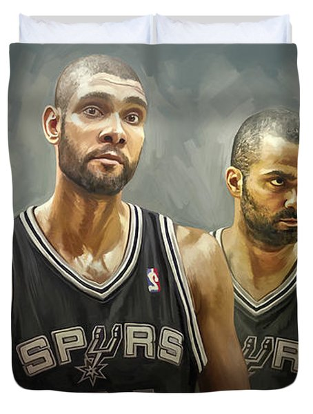 Duvet Cover featuring the painting San Antonio Spurs Artwork by Sheraz A