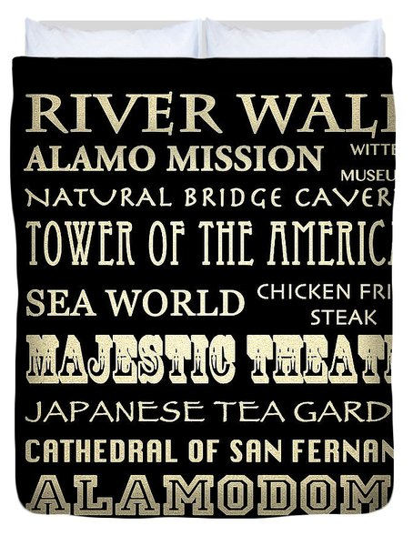 San Antonio Texas Famous Landmarks Duvet Cover