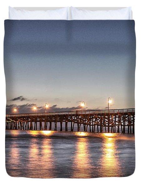 San Clemente Pier At Night Duvet Cover by Richard Cheski