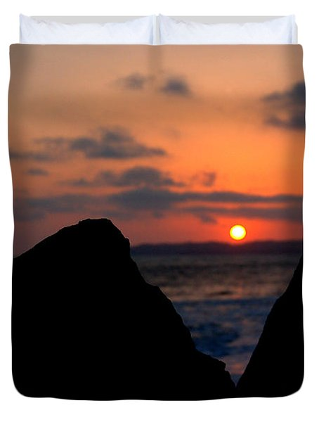 San Clemente Rocks Sunset Duvet Cover by Matt Harang