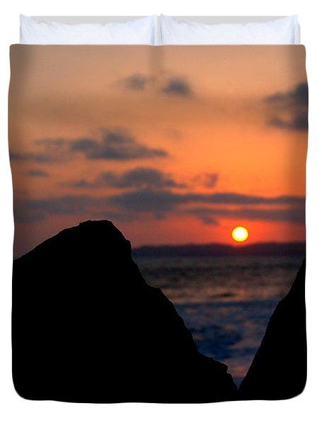 Duvet Cover featuring the photograph San Clemente Rocks Sunset by Matt Harang
