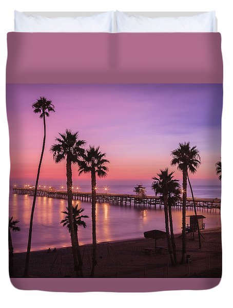 San Clemente Sunset Meditation Duvet Cover