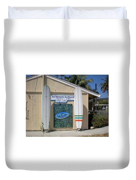 San Clemente Surfboards Duvet Cover