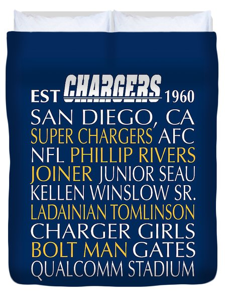 San Diego Chargers Duvet Cover by Jaime Friedman