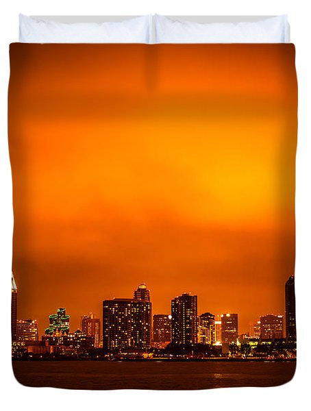 San Diego Cityscape At Night Duvet Cover by Paul Velgos
