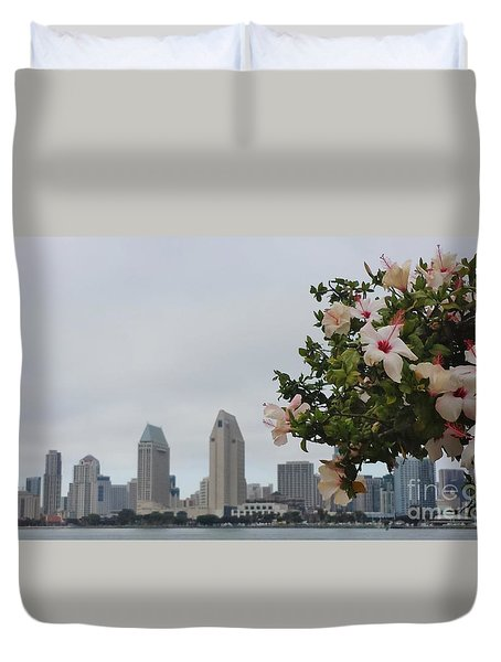 Duvet Cover featuring the photograph San Diego From Coronado View by Jasna Gopic