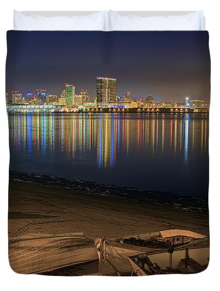 Duvet Cover featuring the photograph San Diego Harbor Lights by Gary Holmes