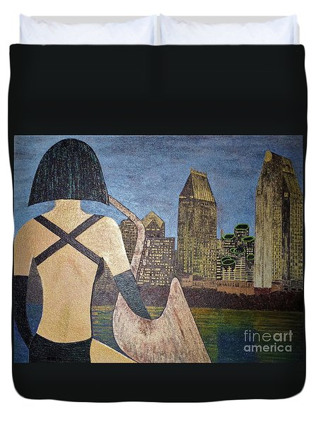 Duvet Cover featuring the painting San Diego Night by Jasna Gopic