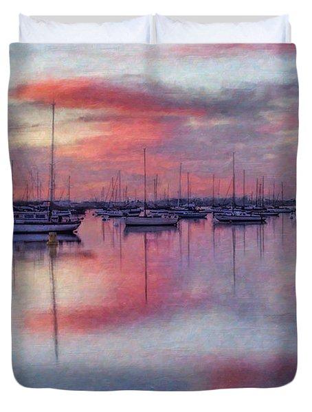 Duvet Cover featuring the digital art San Diego - Sailboats At Sunrise by Lianne Schneider