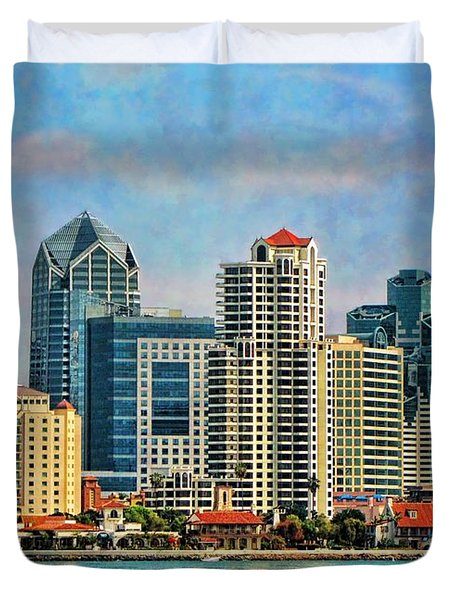 San Diego Skyline Duvet Cover by Peggy Hughes