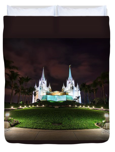 San Diego Temple Duvet Cover by Eddie Yerkish