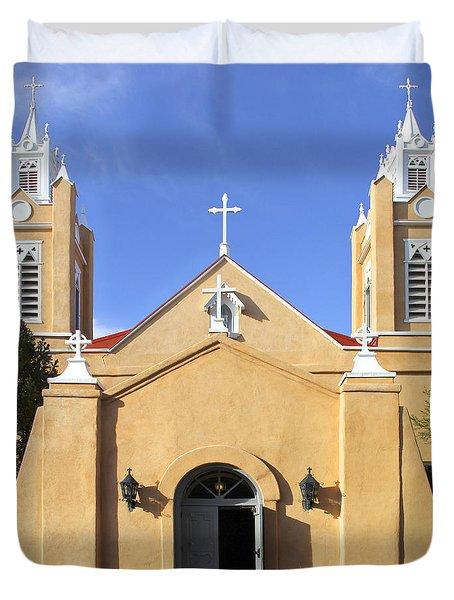 San Felipe Church - Old Town Albuquerque   Duvet Cover by Mike McGlothlen