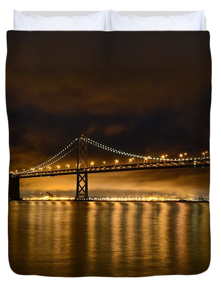 San Francisco - Bay Bridge At Night Duvet Cover