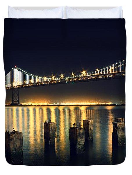 San Francisco Bay Bridge Illuminated Duvet Cover