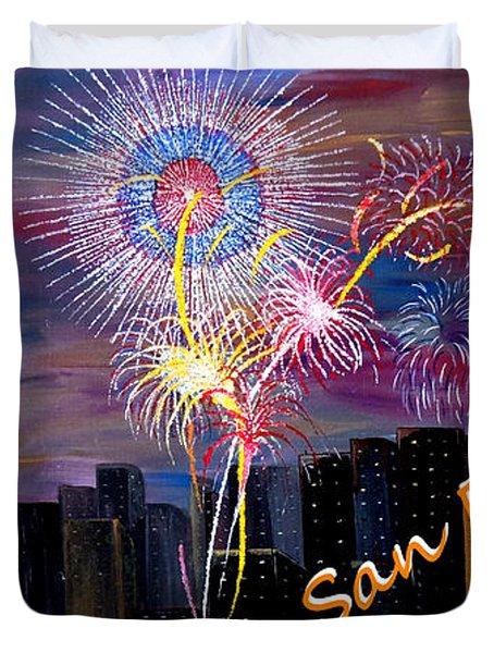 San Francisco Bay City Celebration Duvet Cover by Mark Moore