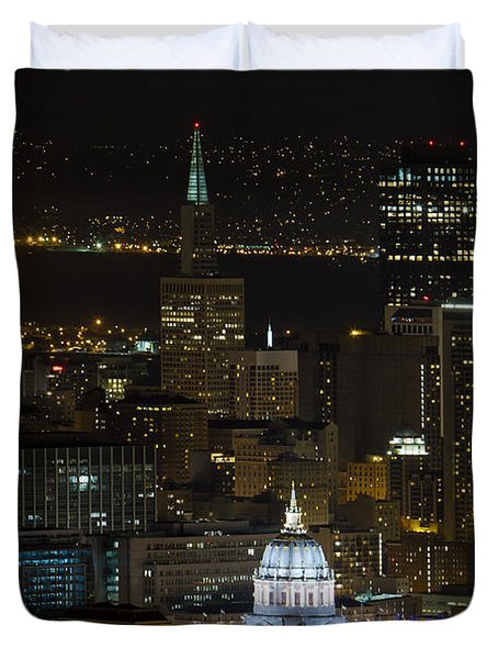 San Francisco Cityscape With City Hall At Night Duvet Cover by David Gn