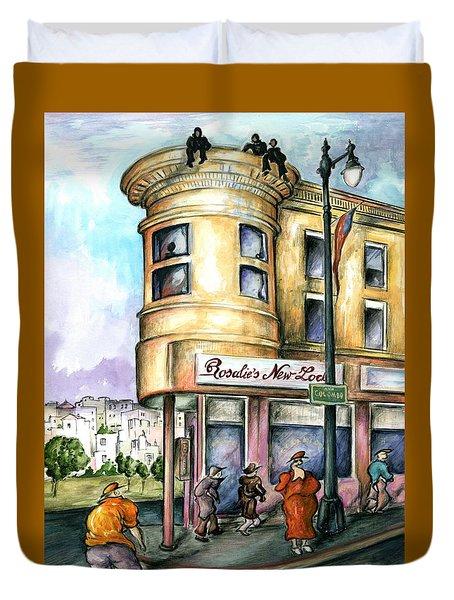 San Francisco North Beach - Watercolor Art Painting Duvet Cover