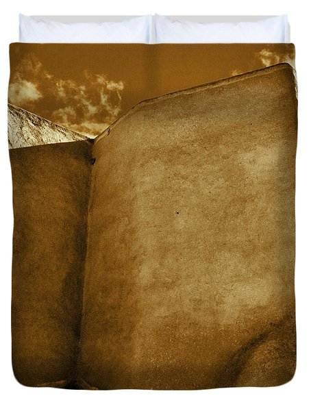 Duvet Cover featuring the photograph San Francisco De Asis Mission Church Taos II by John Hansen