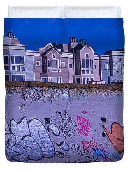 San Francisco Sea Wall Duvet Cover