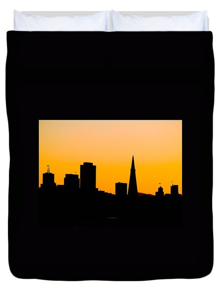 San Francisco Silhouette Duvet Cover by Bill Gallagher
