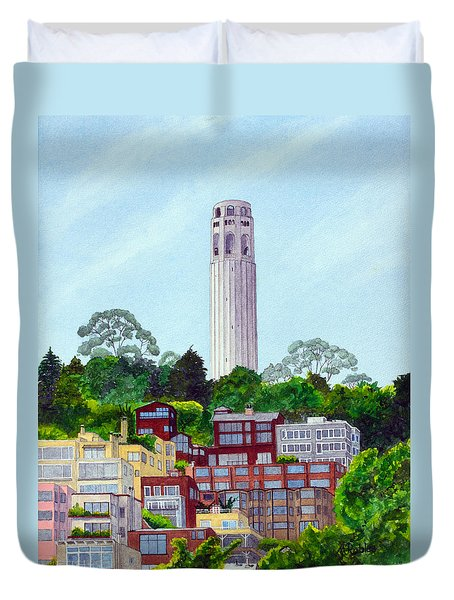 San Francisco's Coit Tower Duvet Cover