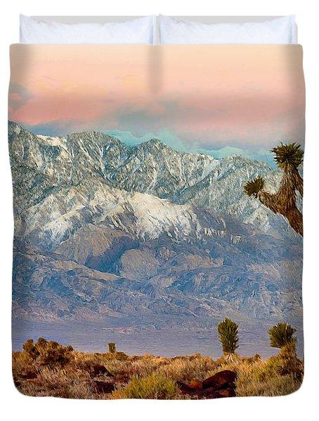San Gorgonio Mountain From Joshua Tree National Park Duvet Cover by Bob and Nadine Johnston