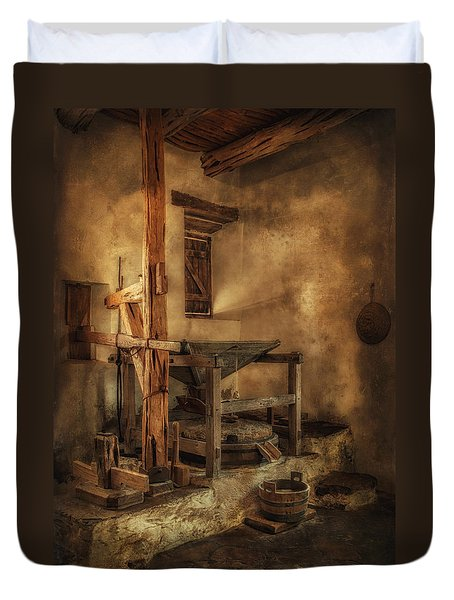 San Jose Mission Mill Duvet Cover by Priscilla Burgers
