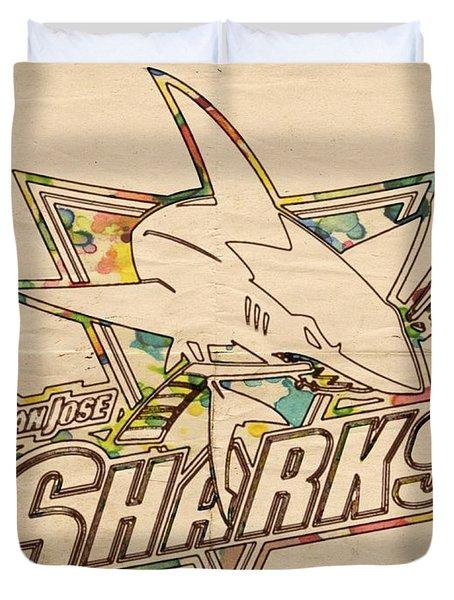 San Jose Sharks Vintage Poster Duvet Cover