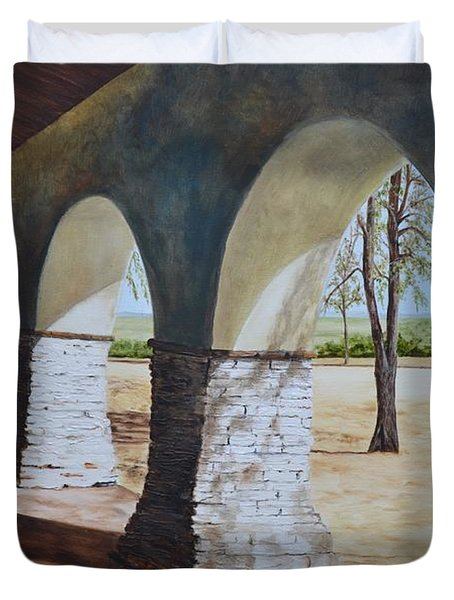 San Juan Bautista Mission Duvet Cover by Mary Rogers
