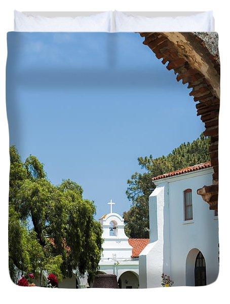 San Luis Rey - Mission Church Duvet Cover by Sandra Bronstein