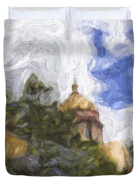 Duvet Cover featuring the digital art San Miguel De Allende Parish by Cathy Anderson