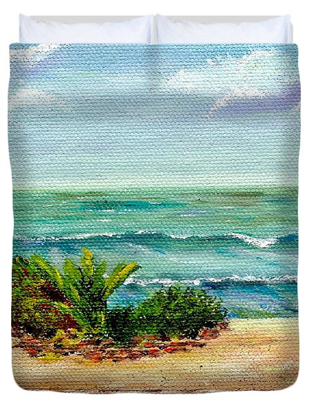 Duvet Cover featuring the painting San Onofre Beach by Mary Scott