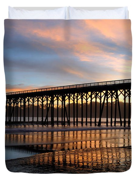 Duvet Cover featuring the photograph San Simeon Pier by Vivian Christopher