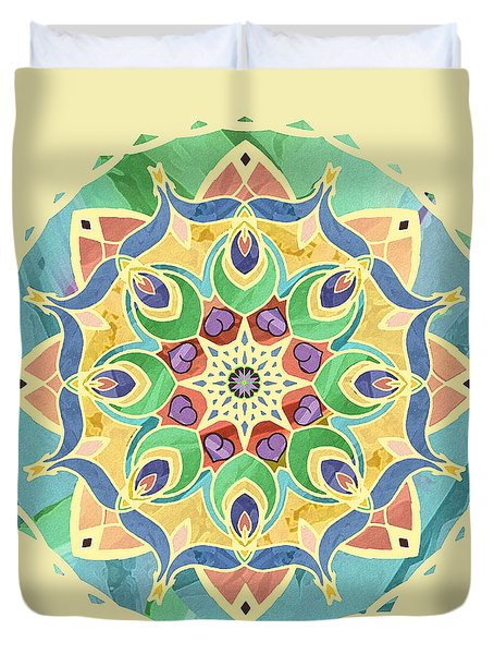 Duvet Cover featuring the digital art Sand And Silk Mandala 2 by Deborah Smith