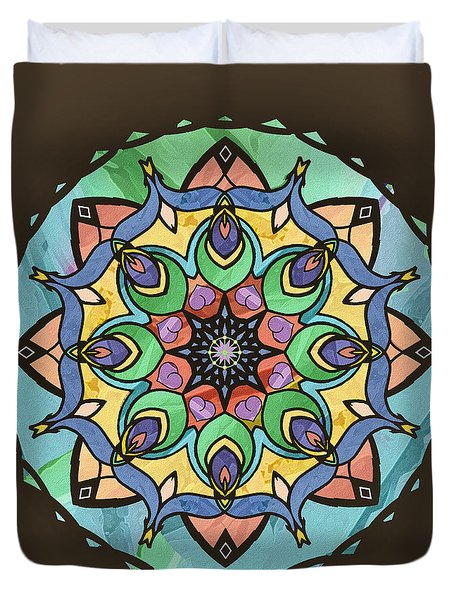 Duvet Cover featuring the digital art Sand And Silk Mandala by Deborah Smith