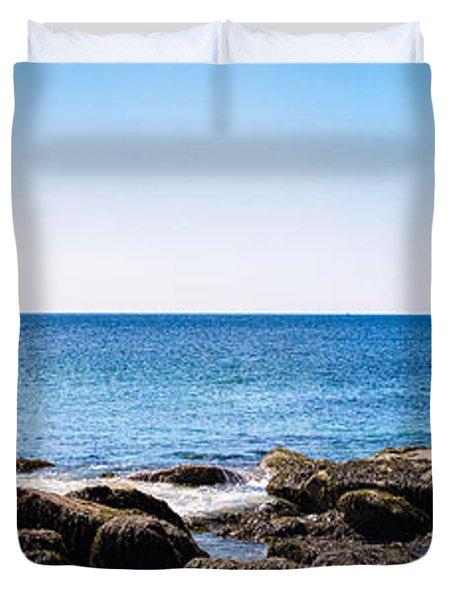 Duvet Cover featuring the photograph Sand Beach Rocky Shore   by Lars Lentz