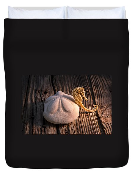 Sand Dollar And Seahorse Duvet Cover by Garry Gay