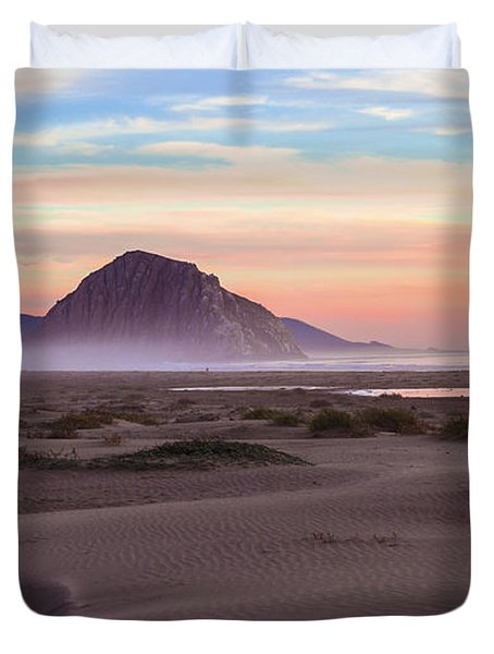 Sand Dunes At Sunset At Morro Bay Beach Shoreline  Duvet Cover by Jerry Cowart
