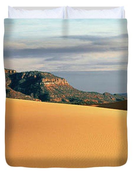 Sand Dunes In A Desert At Dusk, Coral Duvet Cover